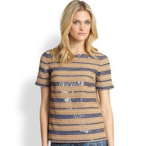Tory Burch Theresa Top Almond Beaded Tee Size 4